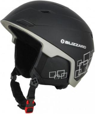 Lyžařská helma BLIZZARD Double, black matt/gun metal/silver squares