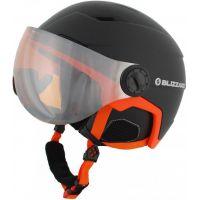 Lyžařská helma BLIZZARD Double Visor, černá/oranžová, oranžový zorník 18/19